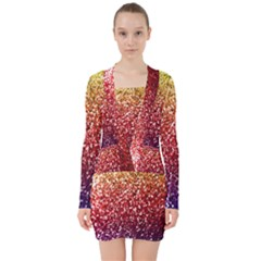 Rainbow Glitter Graphic V Neck Bodycon Long Sleeve Dress