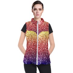 Rainbow Glitter Graphic Women s Puffer Vest by bloomingvinedesign