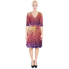 Rainbow Glitter Graphic Wrap Up Cocktail Dress