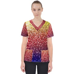 Rainbow Glitter Graphic Women s V Neck Scrub Top