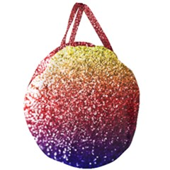 Rainbow Glitter Graphic Giant Round Zipper Tote by bloomingvinedesign