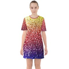Rainbow Glitter Graphic Sixties Short Sleeve Mini Dress
