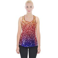 Rainbow Glitter Graphic Piece Up Tank Top