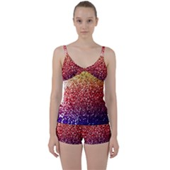 Rainbow Glitter Graphic Tie Front Two Piece Tankini
