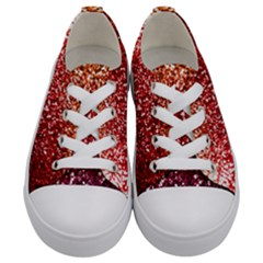 Rainbow Glitter Graphic Kids  Low Top Canvas Sneakers
