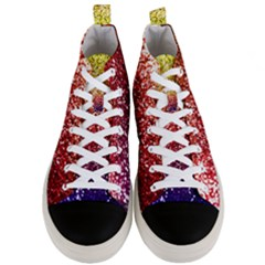 Rainbow Glitter Graphic Men s Mid Top Canvas Sneakers