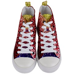 Rainbow Glitter Graphic Women s Mid Top Canvas Sneakers