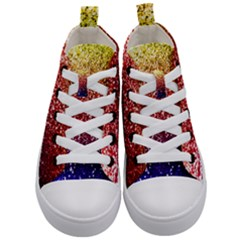 Rainbow Glitter Graphic Kid s Mid Top Canvas Sneakers