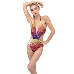 Rainbow Glitter Graphic Plunging Cut Out Swimsuit
