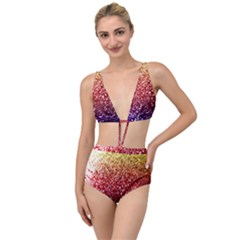 Rainbow Glitter Graphic Tied Up Two Piece Swimsuit