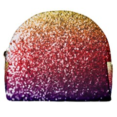 Rainbow Glitter Graphic Horseshoe Style Canvas Pouch