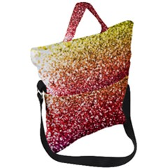Rainbow Glitter Graphic Fold Over Handle Tote Bag