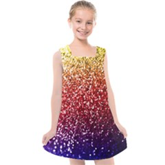 Rainbow Glitter Graphic Kids  Cross Back Dress