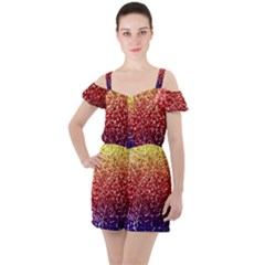 Rainbow Glitter Graphic Ruffle Cut Out Chiffon Playsuit