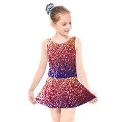 Rainbow Glitter Graphic Kids  Skater Dress Swimsuit