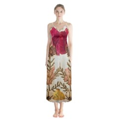 Holy Land Flowers 6 Button Up Chiffon Maxi Dress by DeneWestUK