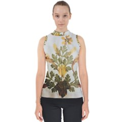 Holy Land Flowers 7 Mock Neck Shell Top