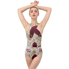 Holy Land Flowers 9 Cross Front Low Back Swimsuit