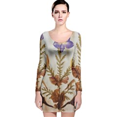 Holy Land Flowers 11 Long Sleeve Velvet Bodycon Dress