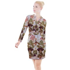 Holy Land Flowers 12 Button Long Sleeve Dress