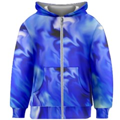 Light Blue Silver Waves Kids Zipper Hoodie Without Drawstring