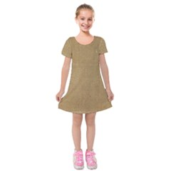 Burlap Coffee Sack Grunge Knit Look Kids  Short Sleeve Velvet Dress by dressshop