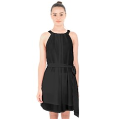 Define Black Halter Collar Waist Tie Chiffon Dress
