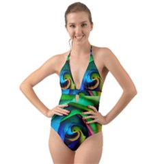 Rainbow Rose 17 Halter Cut Out One Piece Swimsuit