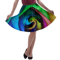 Rainbow Rose 17 A Line Skater Skirt