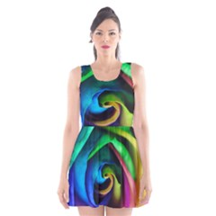 Rainbow Rose 17 Scoop Neck Skater Dress
