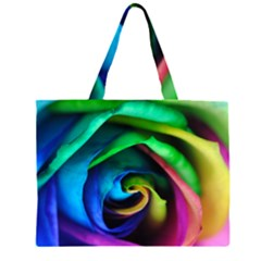 Rainbow Rose 17 Zipper Large Tote Bag