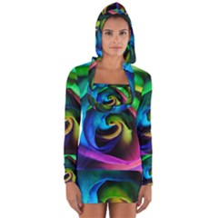Rainbow Rose 17 Long Sleeve Hooded T Shirt