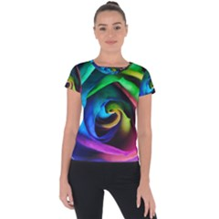 Rainbow Rose 17 Short Sleeve Sports Top