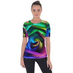 Rainbow Rose 17 Shoulder Cut Out Short Sleeve Top