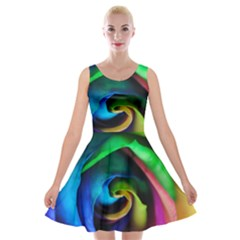 Rainbow Rose 17 Velvet Skater Dress