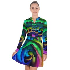 Rainbow Rose 17 Long Sleeve Panel Dress