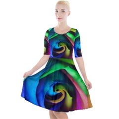 Rainbow Rose 17 Quarter Sleeve A Line Dress
