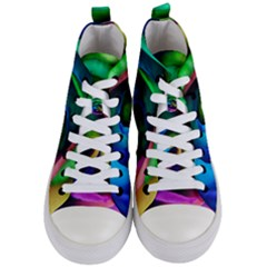 Rainbow Rose 17 Women s Mid Top Canvas Sneakers