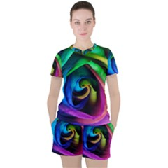 Rainbow Rose 17 Women s Tee And Shorts Set