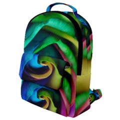 Rainbow Rose 17 Flap Pocket Backpack (small)