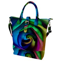Rainbow Rose 17 Buckle Top Tote Bag
