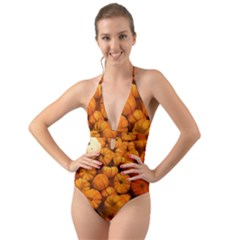 Pumpkins Tiny Gourds Pile Halter Cut Out One Piece Swimsuit