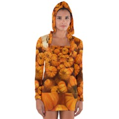 Pumpkins Tiny Gourds Pile Long Sleeve Hooded T-shirt by bloomingvinedesign