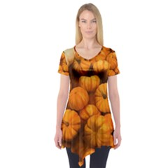 Pumpkins Tiny Gourds Pile Short Sleeve Tunic