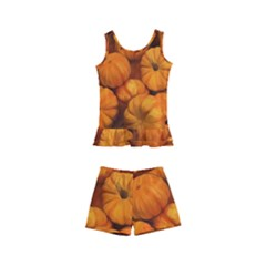 Pumpkins Tiny Gourds Pile Kid s Boyleg Swimsuit