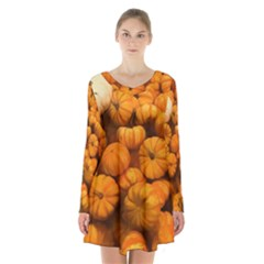 Pumpkins Tiny Gourds Pile Long Sleeve Velvet V Neck Dress