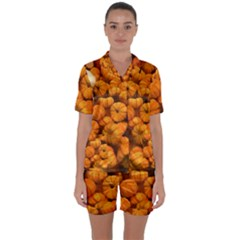 Pumpkins Tiny Gourds Pile Satin Short Sleeve Pyjamas Set