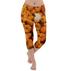 Pumpkins Tiny Gourds Pile Lightweight Velour Capri Yoga Leggings