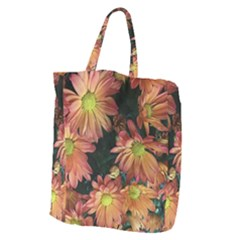 Cream And Pink Fall Flowers Giant Grocery Tote by bloomingvinedesign