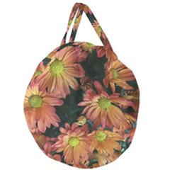 Cream And Pink Fall Flowers Giant Round Zipper Tote by bloomingvinedesign